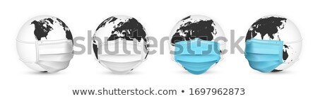 Stock photo: Earth globe in medical face mask. World map set. Vector Illustration