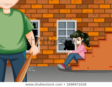 Scene with angry man and crying girl on the street Stock photo © bluering