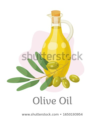 Golden Olive Oil in Vessel, Branch with Drupes Stock photo © robuart