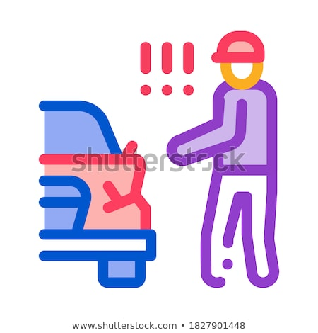 indignant driver of broken car bumper icon vector outline illustration Stock photo © pikepicture