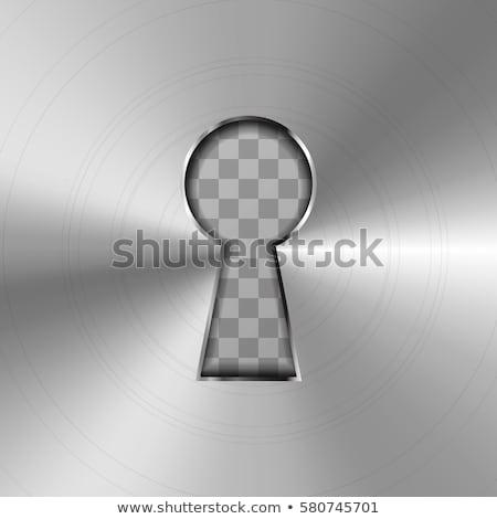 Bright silver glossy keyhole on metallic background Stock photo © evgeny89