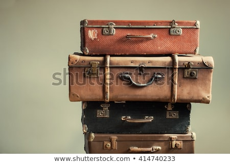 Vintage valise funky autocollants isolé blanche Photo stock © oblachko