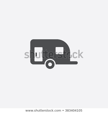 Caravana ícone preto linha carro projeto Foto stock © nickylarson974