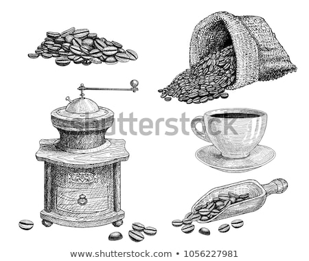 Coffee Beans in Bag and Grinder Monochrome Sketch Stock photo © robuart