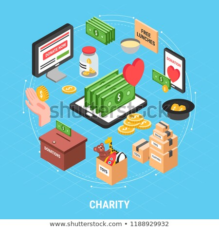 Volunteers Support Money Box isometric icon vector illustration Stock photo © pikepicture