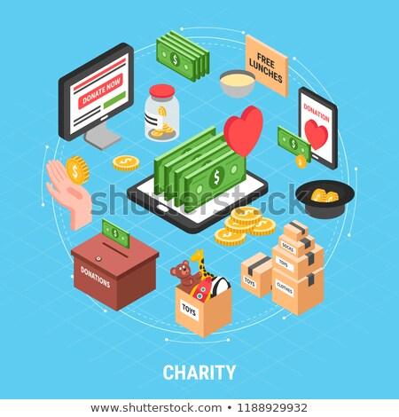 önkéntesek támogatás pénz doboz izometrikus ikon Stock fotó © pikepicture