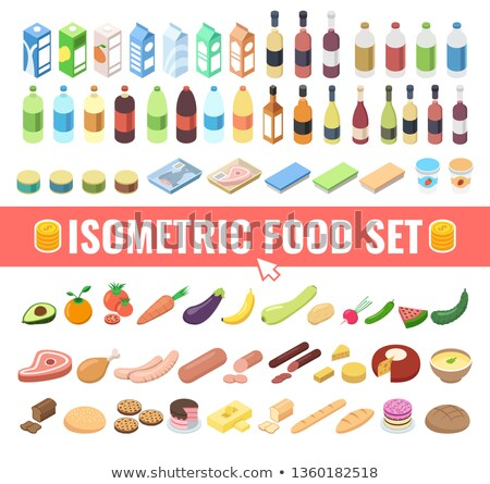 Healthy Food Vegetable Avocado isometric icon vector illustration Stock photo © pikepicture