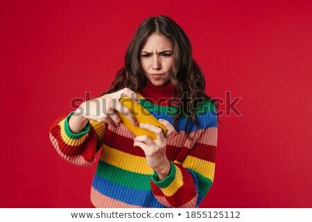 изображение недовольный кавказский женщину играет видеоигра Сток-фото © deandrobot