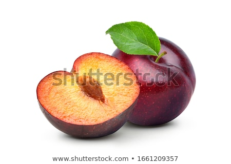 Szilva friss étel gyümölcs csoport fehér Stock fotó © trgowanlock