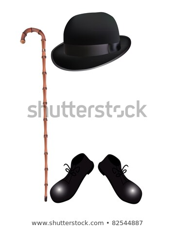 Stock photo: bamboo cane, bowler hat and boots
