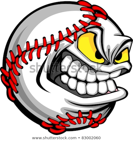 baseball · visage · cartoon · balle · vecteur · image - photo stock © chromaco