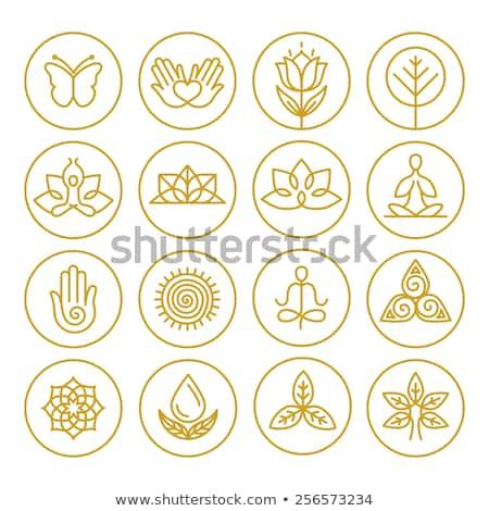 Yoga simge insanlar siluetleri harfler dizayn Stok fotoğraf © sahua