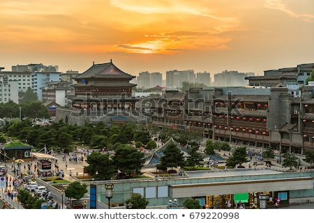 Illuminated Drum Tower In Xian Stok fotoğraf © vichie81