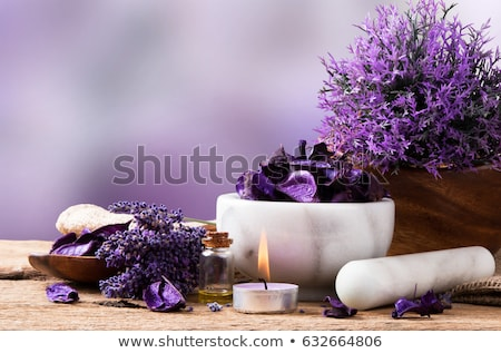 Stock photo: Spa setting with lavender bath salt