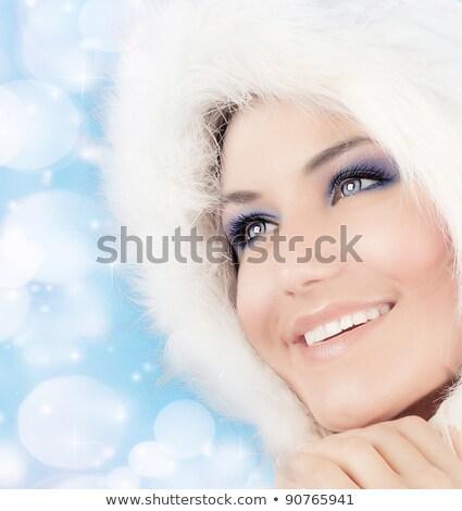 nieve · reina · mujer · hermosa · Navidad · estilo · maquillaje - foto stock © anna_om
