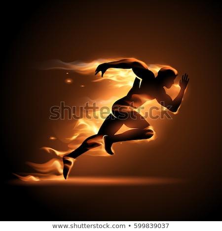 tüzes · személy · sziluett · ugrás · sötét · tűz - stock fotó © -Baks-