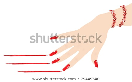 vector woman hands with red fingernails and ruby bracelet  Stock photo © Dahlia