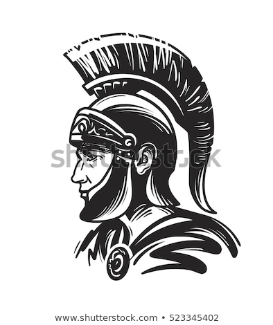 roman centurion mascot head with helmet vector graphic stock photo © chromaco