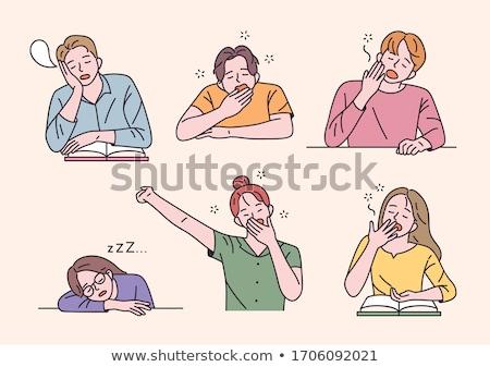 Assonnato studente donna lavoratore studio file Foto d'archivio © photography33