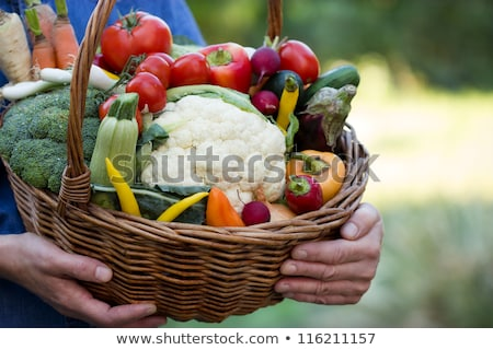 Bell peppers and basket with garlics Stock photo © Gertje