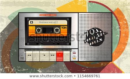retro · kaseta · gracz · zestaw · odizolowany · biały - zdjęcia stock © deyangeorgiev