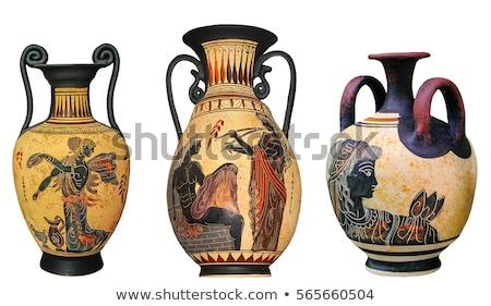 ギリシャ語 · セラミックス · 花瓶 · 青 · 孤立した · 白 - ストックフォト © Bellastera