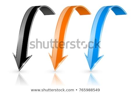 Nyíl lefelé ikon kék izolált fehér Stock fotó © zeffss