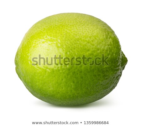 Single cross section of lemon with green leaf Stock photo © boroda