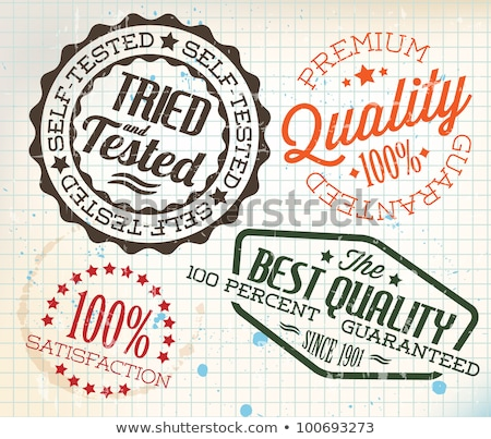 Vector retro vintage stamps on old squared paper stock photo © orson