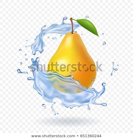 Eau douce Splash vert poire isolé blanche Photo stock © artjazz