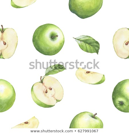 seamless pattern of green apples with leaf stock photo © boroda