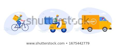 Camion de livraison simple photos bleu noir cartoon Photo stock © jirisolecito