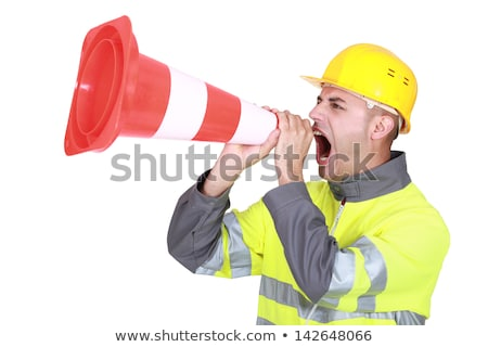 Labourers shouting in traffic cones Stock photo © photography33