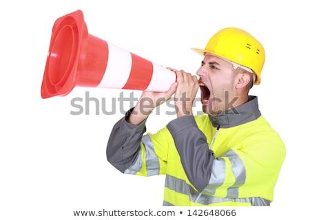 człowiek · ruchu · stożek · krzyk · czerwony - zdjęcia stock © photography33