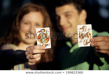 empresário · jogos · de · azar · cartas · de · jogar · trabalhar · computador · homem - foto stock © stockyimages