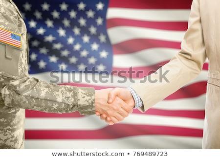 apertar · a · mão · bandeira · americana · negócio · mãos · festa · sucesso - foto stock © ozaiachin
