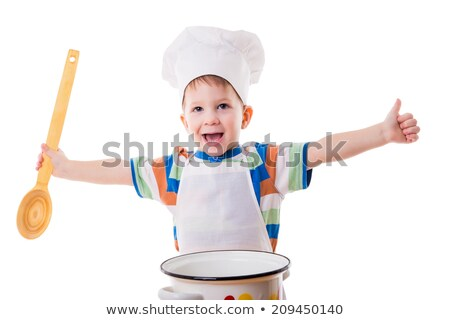 baby with big cooking pot and wooden spoon Stock photo © gewoldi