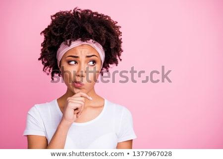 vrouw · haren · denken · mooie · blonde · vrouw - stockfoto © dmitri_gromov