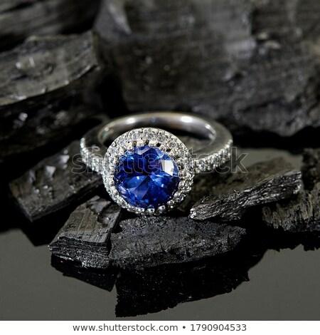 Stockfoto: Zwarte · saffier · geïsoleerd · witte · edelsteen · diamant