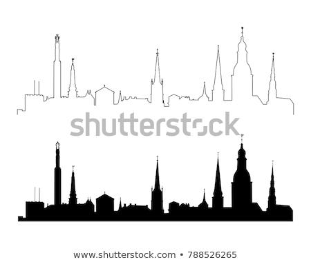 Siluet Riga seyahat ülke tarih renk Stok fotoğraf © perysty