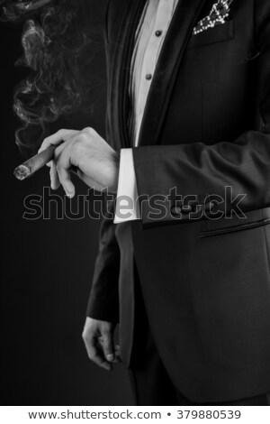 Cygara piękna wyrafinowany kobieta czarny ręce Zdjęcia stock © lisafx