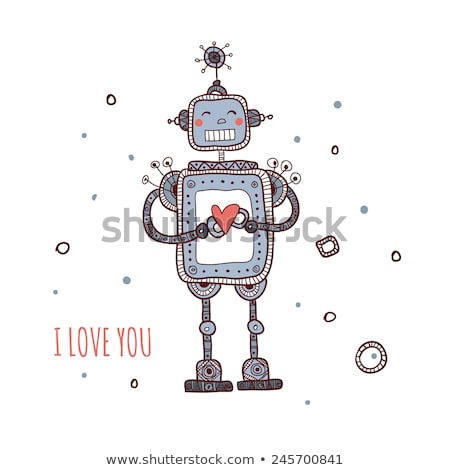 Cartoon robot amour heureux coeur Photo stock © blamb