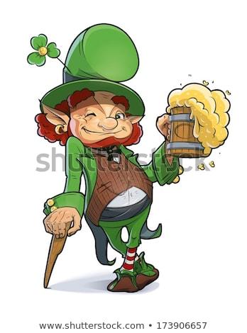 Leprechaun drinking green beer Stock photo © sumners