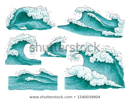 Sea illustration with big curly waves. Stock photo © Sylverarts