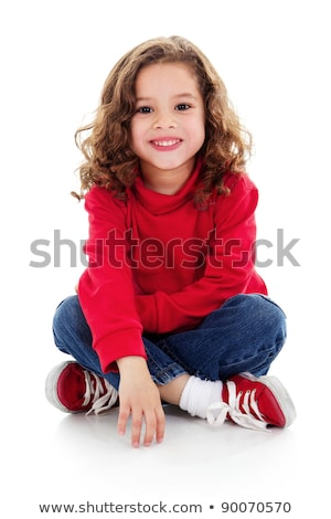 Cute little girl sitting on a floor. Stock photo © Sylverarts