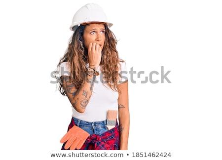 Nervoso feminino construtor mulher menina mão Foto stock © photography33