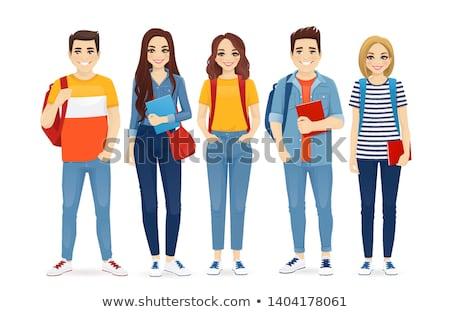 diák · lány · portré · tart · könyvek · hátizsák - stock fotó © lithian