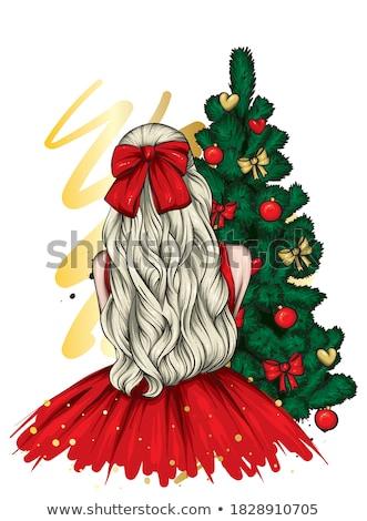 サンタクロース 少女 美しい ブルネット ポーズ グレー ストックフォト © bartekwardziak