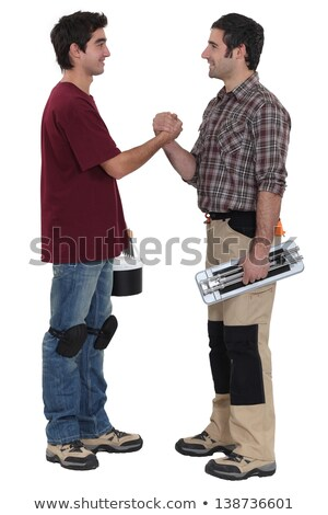 two decorators greeting each other stock photo © photography33