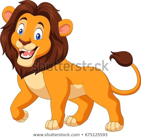 Leão desenho animado sorrir diversão selva gráfico Foto stock © dagadu
